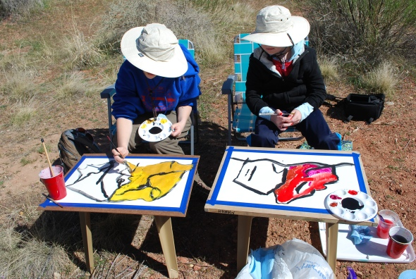 Working with two young artists in Zion National Park. An Art Project that begins with a Black Line.
