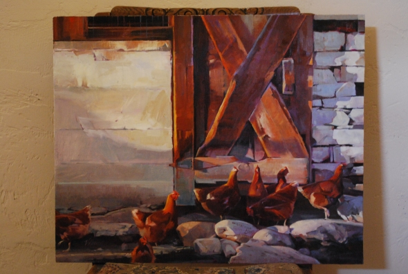 Chickens in a barnyard at Mt. Carmel, Utah.