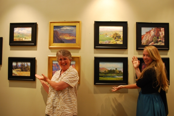 "One of the pleasurable parts of the evening was having guests point out their favorite ""Roxane"" painting. This is Barb Edwards on the left and Katie Marsh on the right. Stiff competition for ""Vanna White""!"