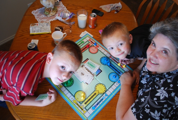 William, Jayson, and Grandma Melissa at the Sorry board. How does that game live on and on?! I remember playing Sorry with my dad and sisters at Christmas. Lots of fun.