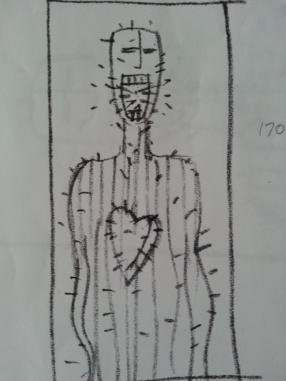 "The sketch in my journal for the painting, ""Missing The Heart of the Conversation""."