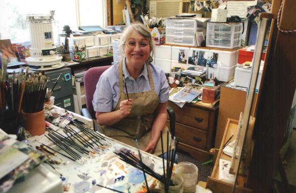 Barbara Summers Edwards, artist, in her Smithfield, Utah studio.