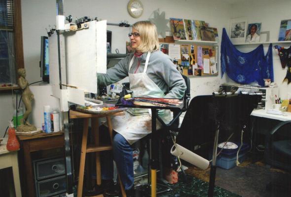 Roxane Mitchell Pfister, artist, in her Logan, Utah studio.