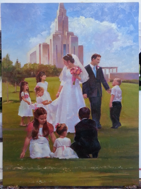 2. Illustration: This is a painting for commission/illustration for an LDS church magazine article about marriage in the temple. I used to use prismacolor pencils and pastels for my illustration work. Nowadays I am requested to oil paint my illustrations. I like the change. More practice with oil. Pays the bills.