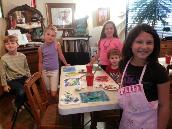 I invited 16 children over to paint two days before Halloween.