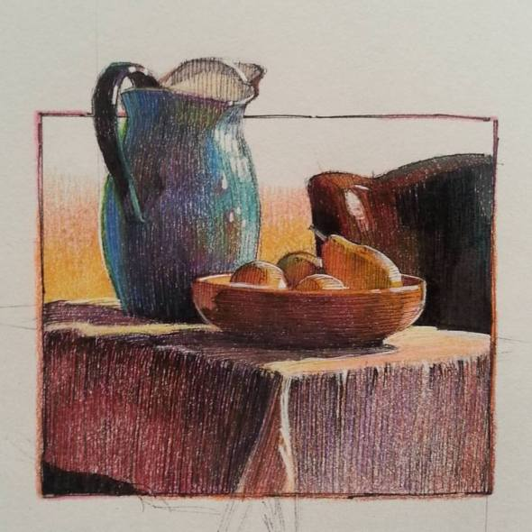 Blue pitcher and pears